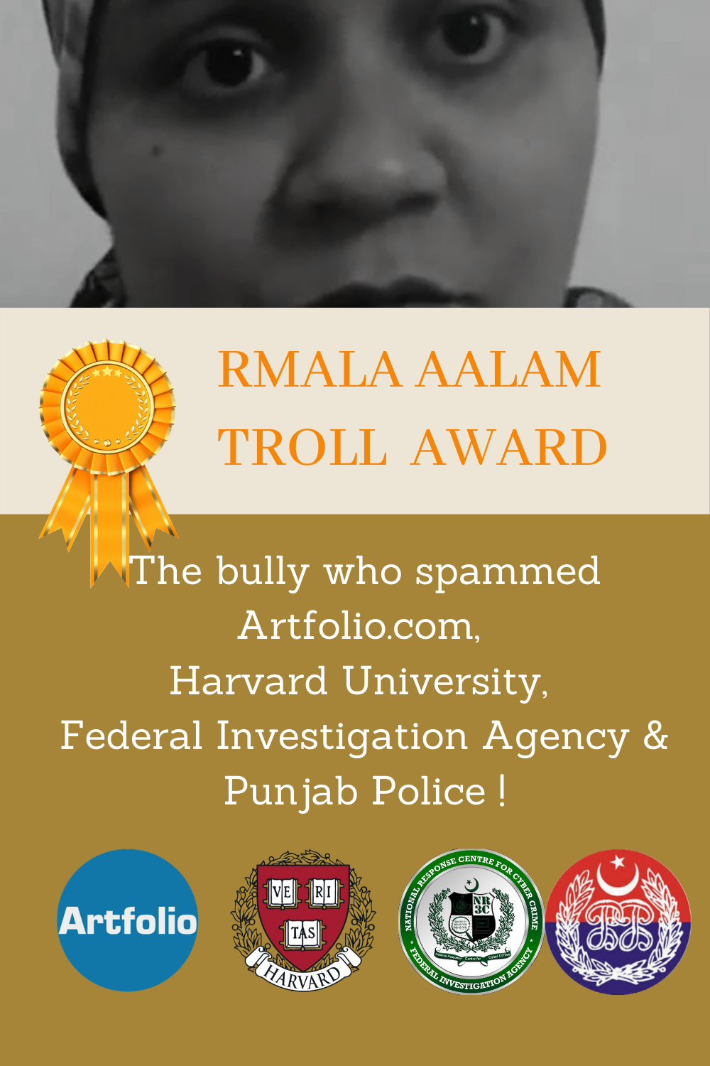 Last week was a great one for @GruaAbuseArkive. Ms Ramla Akhtar, aka Rmala Aalam, manager of Betterbonds shop in Husseini, Gojal. Her psychopathic stalking reached summits. Let's look at her actions with Artfolio, Harvard University, Federal Investigation Agency and Punjab Police.