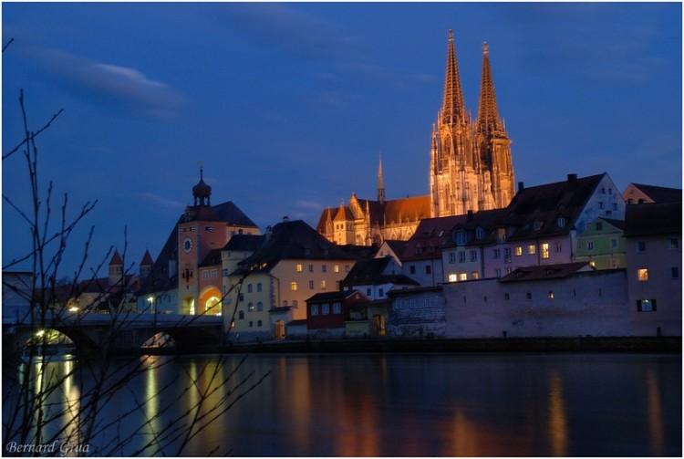 Bernard Grua, heure bleue, blue hour, Allemagne, Regensburg