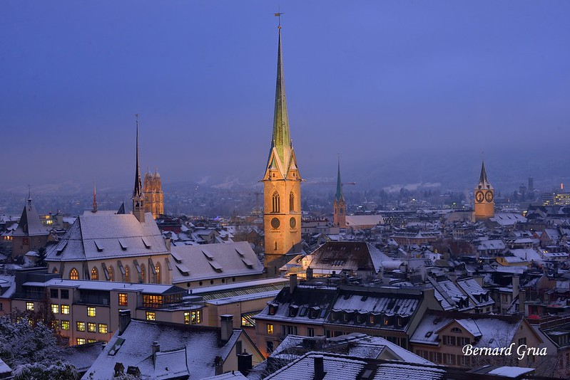Bernard Grua, heure bleue, blue hour, Zurich, Suisse