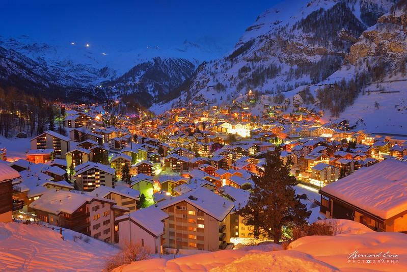 Bernard Grua, heure bleue, blue hour, Zermatt, Suisse