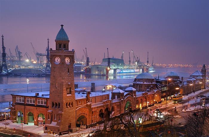 Bernard Grua, heure bleue, blue hour, Hambourg, Allemagne