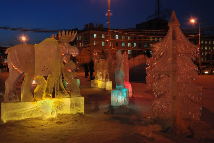 Bernard Grua, heure bleue, blue hour, Iakoutsk, Sibérie Russie