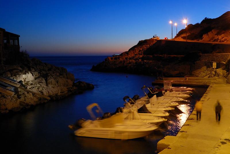 Bernard Grua, heure bleue, blue hour, France, Callelongue, Marseille