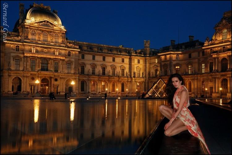Bernard Grua, heure bleue, blue hour, France, Le Louvre, Paris