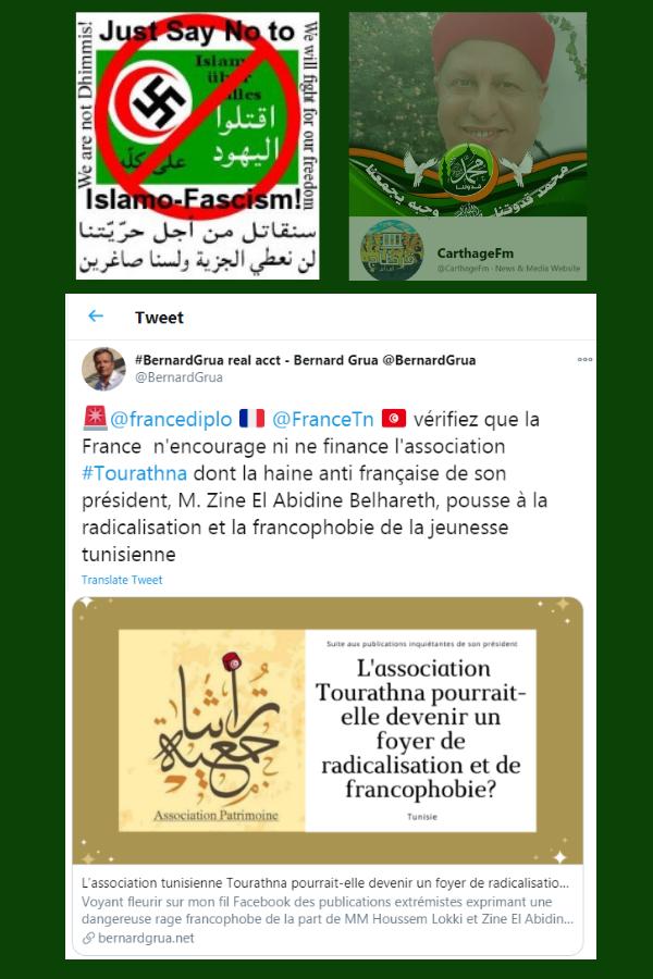 Zine El Abidine Belhareth, Association Tourathna, Tunis, Islamo-Fascism