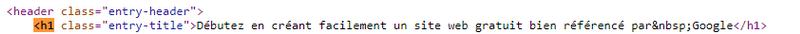 Codification HTML du titre