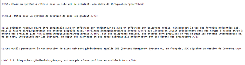 Codification HTML de la structure