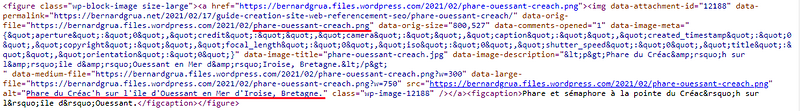 Code HTML de la photographie du phare d'Ouessant