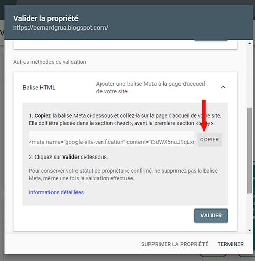 Copier la balise HTML depuis la Google Search Console