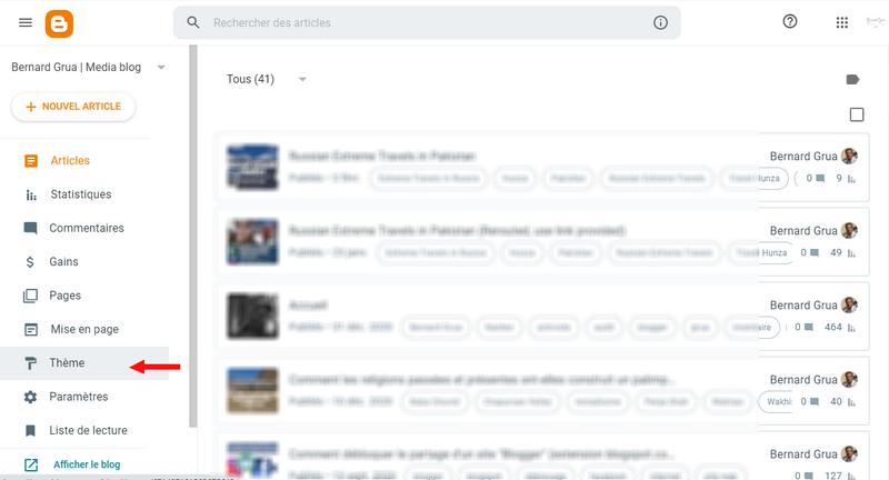 """Ouvrir la rubrique """"Thème"""" dans blogspot"""