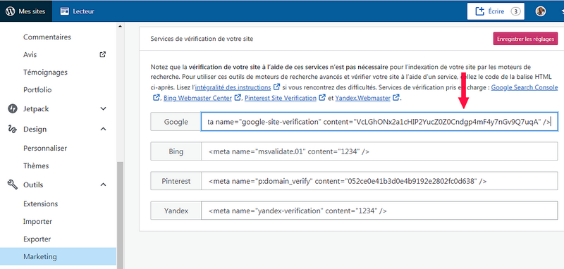 """Wordpress, dans la boite """"Google"""", collez la meta balise HML (la clef) donnée par la Search Console"""