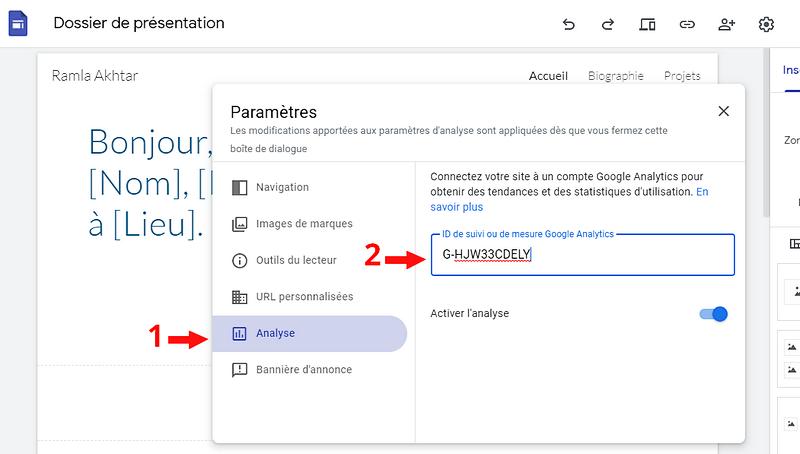 Insérer la clef Analytics dans Google Sites