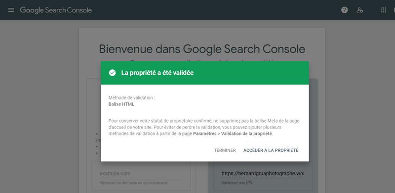 La Google Search Console confirme que la propriété est validée.