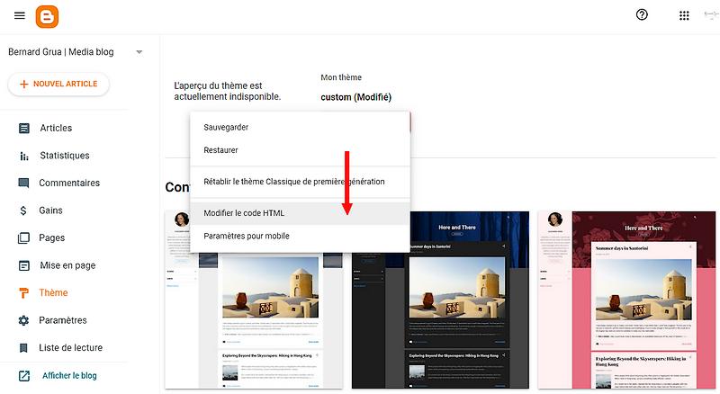 """Sélectionner """"Modifier le code HTML"""" dans le """"Thème"""" de blogspot"""