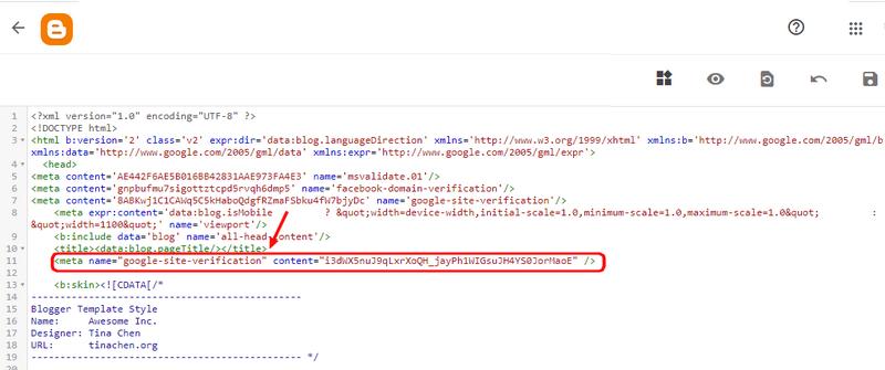 """Coller la meta balise HTML dans le """"Thème"""" de blogspot"""