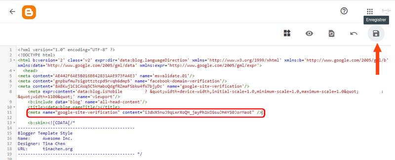 """Enregistrer la modificatioon du code HTML dans le """"Thème"""" de blogspot"""