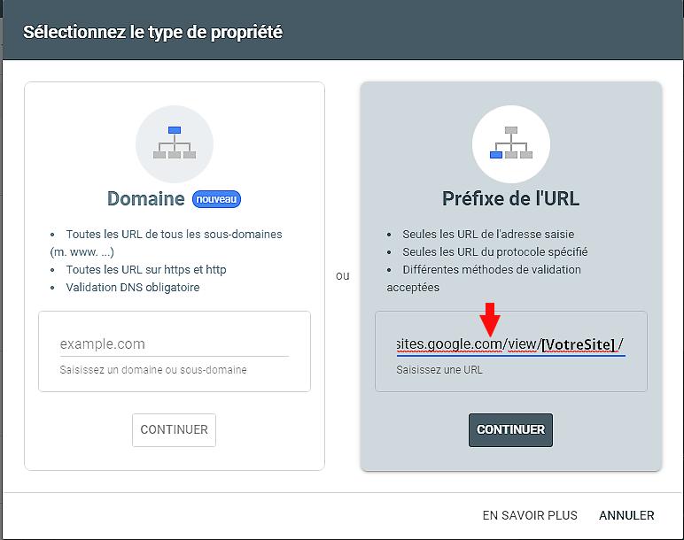 Ajouter URL du site dans Google Search Console