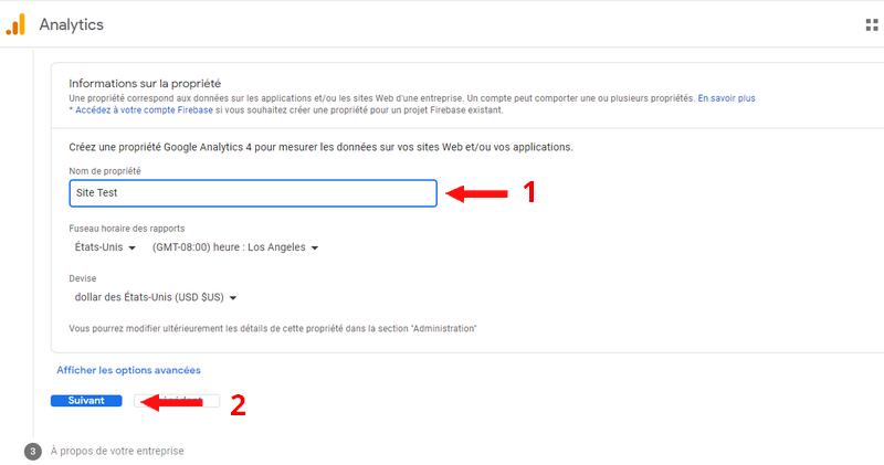 Création d'une propriété Google Analytics