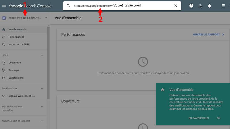 Saisir l'URL d'un article ou d'une page dans la Google Search Console