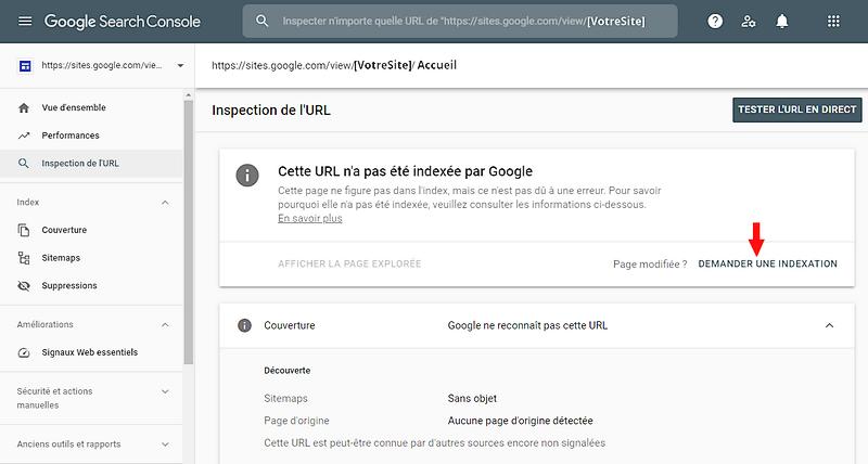 Demander une indexation de page ou d'article dans Google Search Console