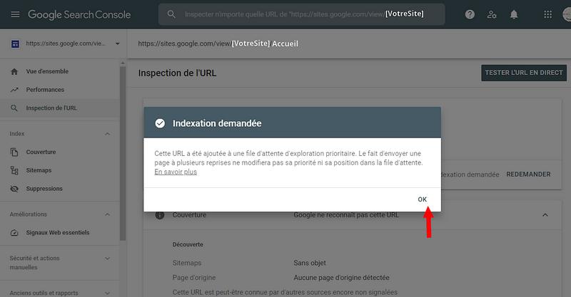 Demande d'indexation de page ou d'article prise en compte par Google Serach Console