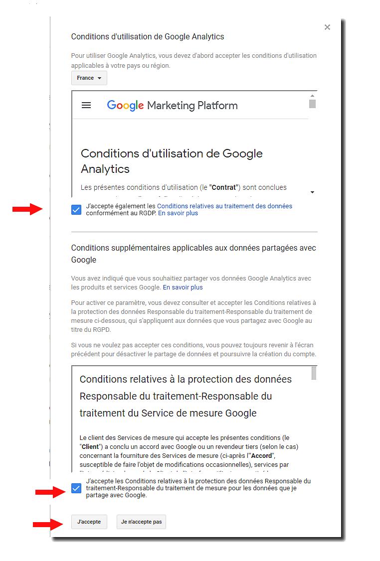 Conditions d'utilisation Google Analytics