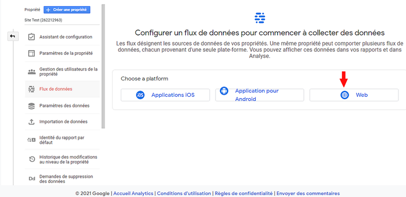 Configuration du flux de données Google Analytics