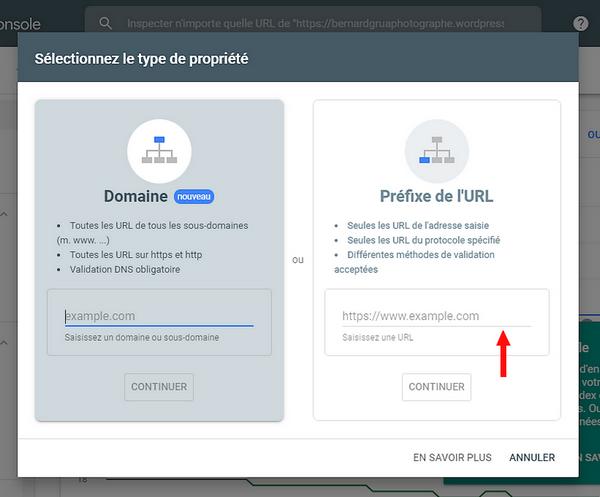 Sélection de lemplacement pour URL dans la Google Search Console