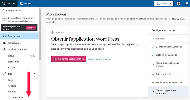 """Wordpress, colonne de gauche, descendre vers """"outils"""""""