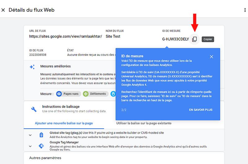Obtention et copie de la clef Google Analytics pour votre site