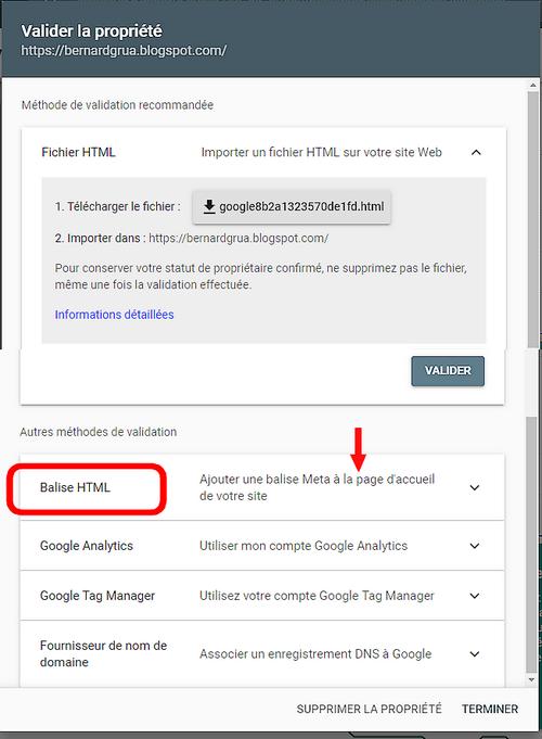 Sélectionner balise HTML dans la Google Search Console