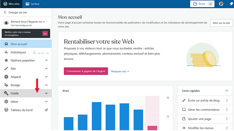 "Wordpress, colonne de gauche, ouvir ""outils"""