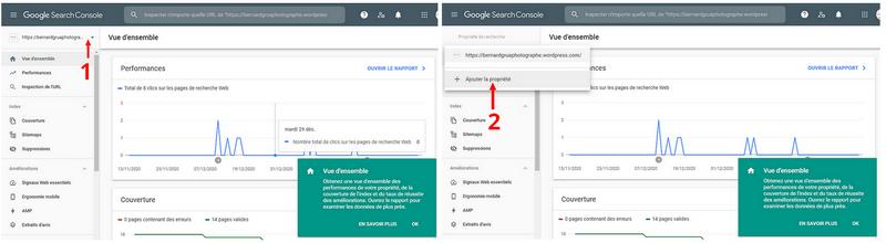 Ajout de propriété dans le cas où la Search Console serait déjà liée à un ou plusieurs sites.