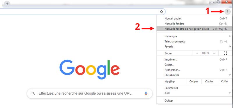 """Sélectionner """"Nouvelle fenêtre de navigatioon privée"""" sur le moteur de recherche Google"""