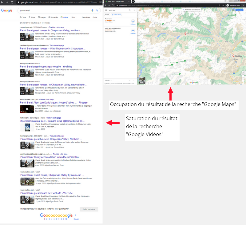 """Pamir Serai: occupation du résultat de la recherche """"Google Maps"""". Saturation du résultat de la recherche """"Google Vidéos""""."""