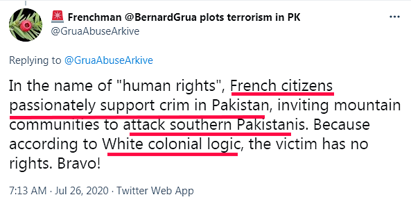 """Ramla Akhtar: """"Au nom des «Droits de l'homme», lescitoyens français supportent passionément le crime au Pakistan pour attaquer les Pakistanais du Sud. Logique blanche coloniale."""""""