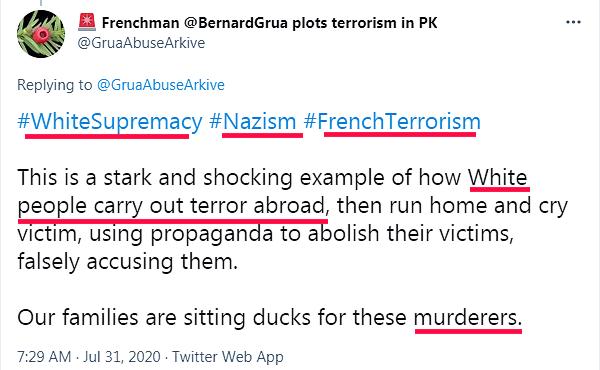 """Ramla Akhtar: """"suprémacisme blanc, nazisme, terrorisme français, peuples blancs exportant le terrorisme, meurtriers"""""""