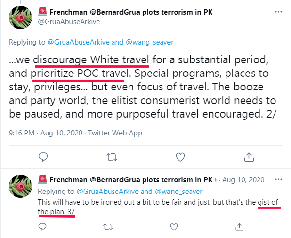 Ramla Akhtar: «Nous (sic) décourageons le voyage des Blancs. Nous priorisons le voyage des gens de couleurs.»