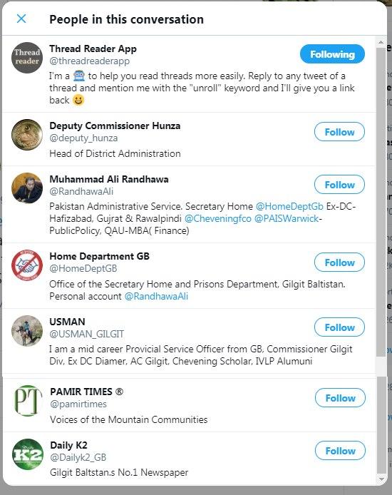 Destinataires du fil twitter: les chargés de pouvoir d'Islamabad dans le Gilgit-Baltistan