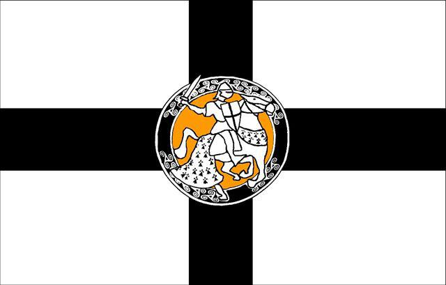 """Drapeau de """"Tudjentil Breizh"""", association de la noblesse bretonne dont certains membres et non des moindres ne portent pas de particule."""