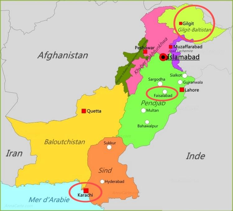 Pakistan, Ramla Akhtar: en haut,la zone montagneuse du Gilgit-Baltistan, au «milieu», Faisalabad, en bas Karachi
