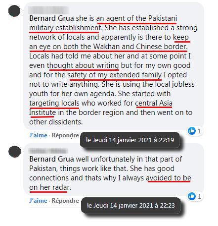 """Ramla Akhtar serait une sorte d'informateur, partie prenante d'un système de domination. En France, on dirait trivialement un """"indic"""", un """"mouchard"""" ou une """"balance"""". Ceci expliquerait les protections particulières dont elle bénéficie. Lesquelles lui autoriseraient toute sorte de propos au sujet de la minorité contre laquelle elle est mandatée. Son discours à forte teneur islamiste et xénophobe est, de plus, en phase avec l'idéologie développée par Imran Khan. Ramla Akhtar se méfie seulement de la police de la région qui est, pour l'instant, composée de personnel local."""