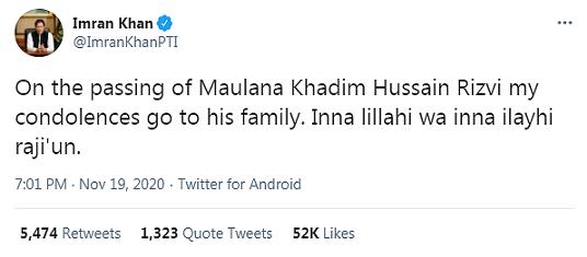 Condoléances d'Imran Khan à la famille Khadim Hussain Rivzi le fondateur du Tehreek-e-Labbaik