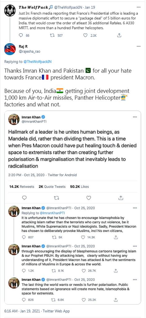 """""""Merci Imran Khan et le Pakistan pour toute votre haine contre le président Macron. Grace à vous, l'Inde obtient un développement conjoint de missiles air-air portant à 1.000 km, des usine de fabrication d'hélicoptères Panther et d'autres choses. """""""
